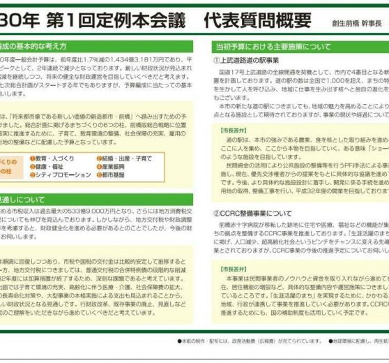 創生前橋(会報報)夏号 小曽根代表質問